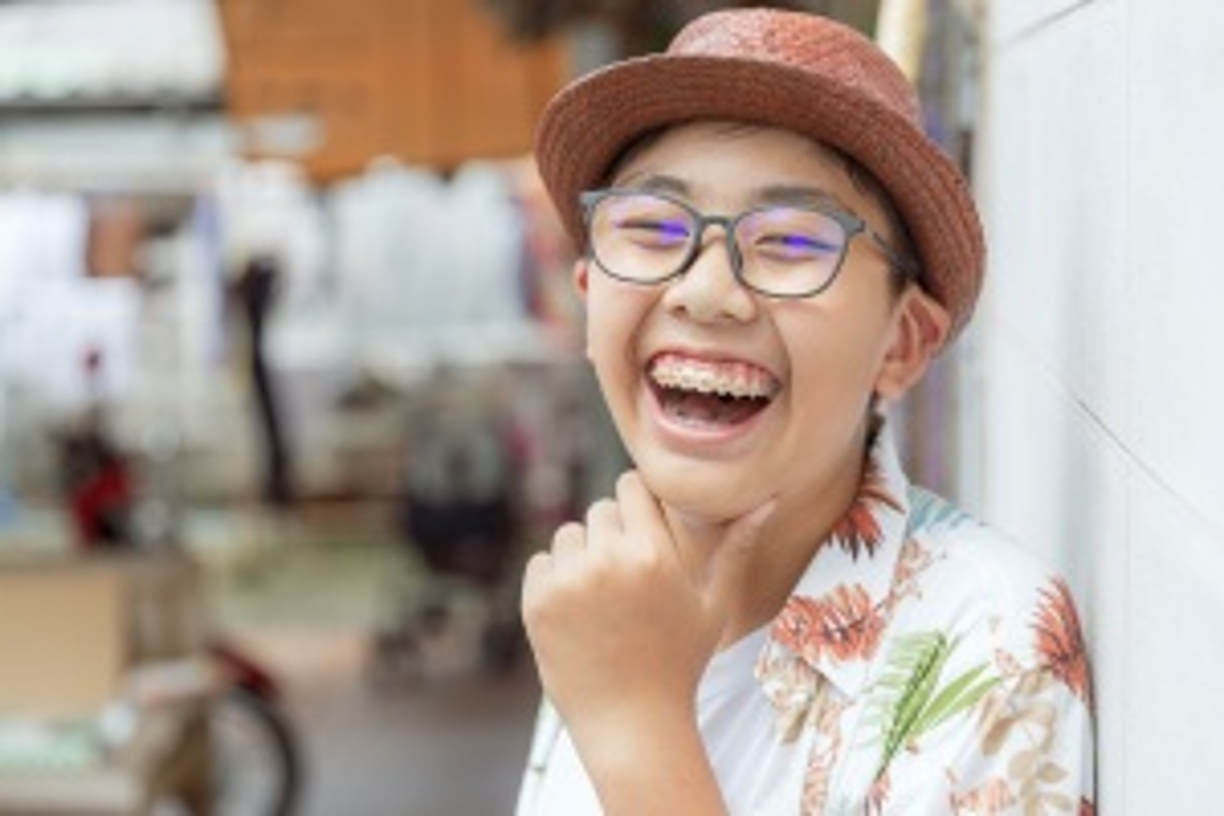 Teenage boy smiling with braces